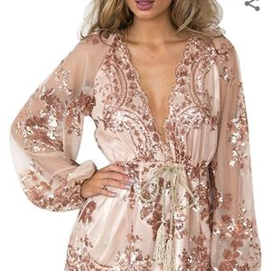 Sexy V Neck Long Sleeves Lace Sequin Rompe…